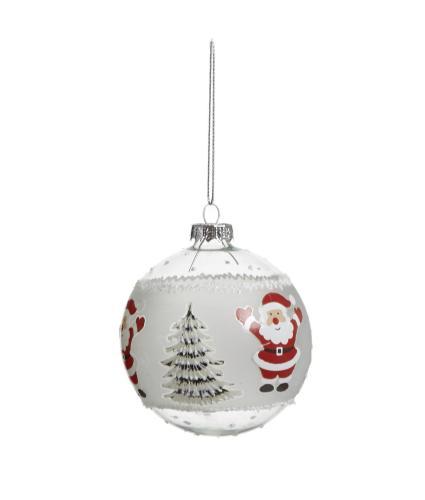 Glass Character Bauble - Santa