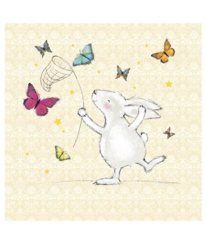 Bunny Catching Butterflies Greetings Card