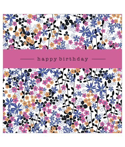 Bright Ditsy Floral Print Birthday Card