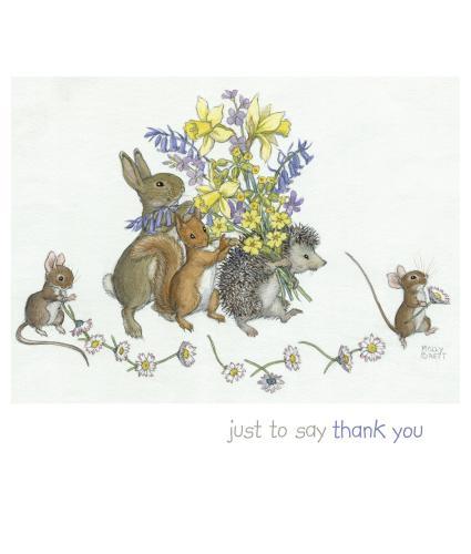 Rabbit, Squirrel & Hedgehog Bouquet Thank You Greetings Card