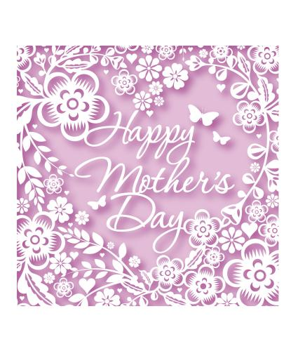 Floral Faux Laser Cut Mother's Day Greetings Card