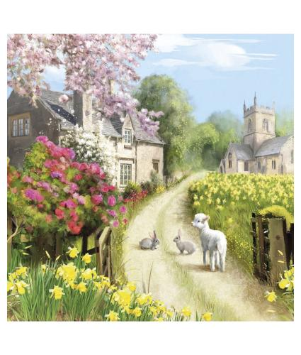Village at Easter Time Easter Cards - Pack of 6