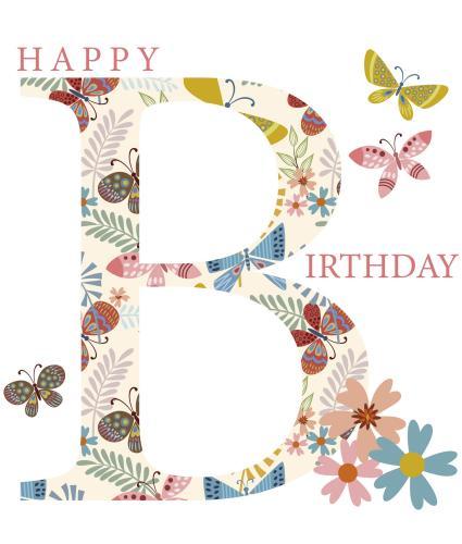 Floral 'B' Birthday Card