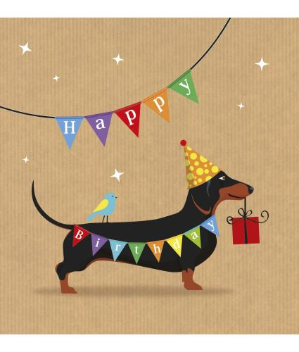 Dachshund Bunting Birthday Card