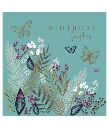 Floral Kaleidoscope on Turquoise Birthday Card