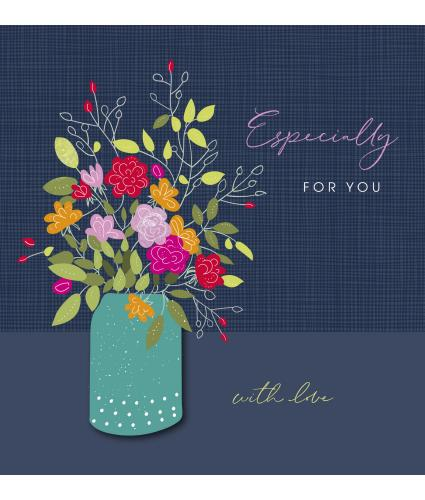 Floral Arrangement On Navy Greetings Card