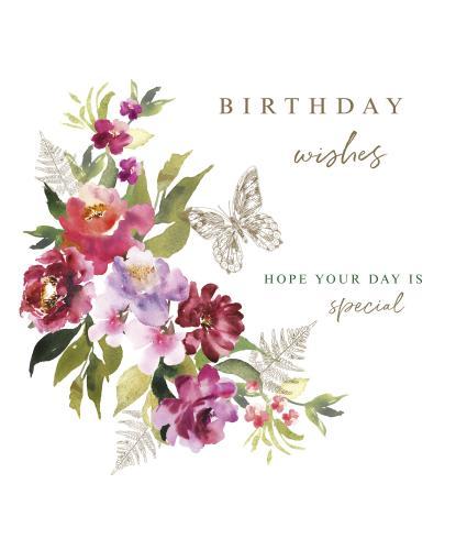 Burst Of Watercolour Florals Birthday Card