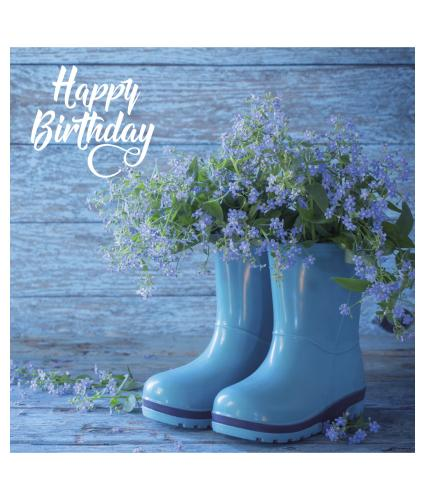 Forget Me Not Wellies Birthday Card