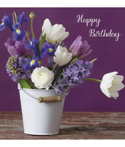 Iris Arrangement Birthday Card