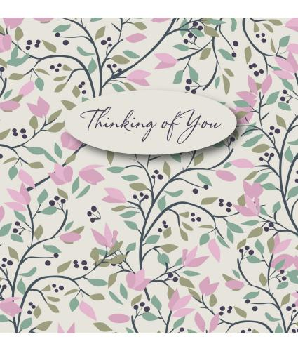 Pink Floral Thinking of You Sympathy Card