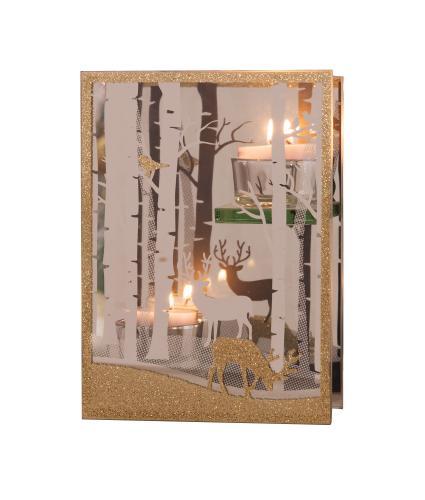 Gold Glass Reindeer Scene Tealight Holder