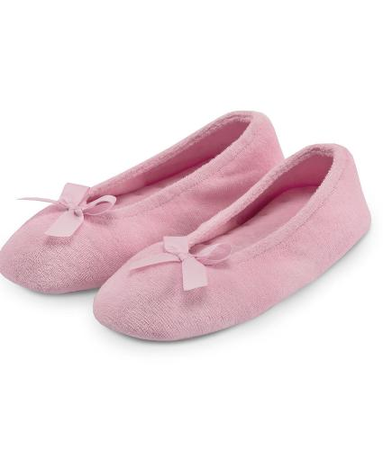 Totes Terry Ballet Slipper in Light Pink