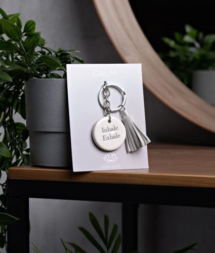 Serenity Inspirational Ceramic Keyring - Inhale Exhale