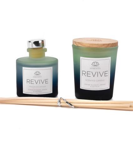 Serenity Revive Reed Diffuser and Candle Set - Orange Blossom, Jasmine & Saffron