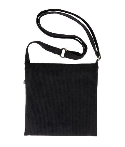 Earth Squared Cross Body Drain Bag in Black Corduroy