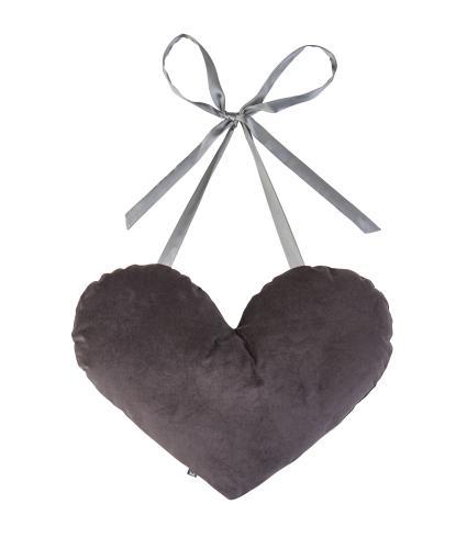 Earth Squared Heart Tie Cushion in In Grey Velvet