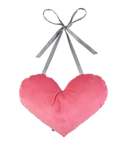 Earth Squared Heart Tie Cushion in Pink Velvet