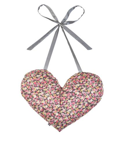 Earth Squared Heart Tie Cushion in Flower Print