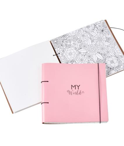 Artbox Recycled Leather Planner and Scrapbook in Blossom Pink