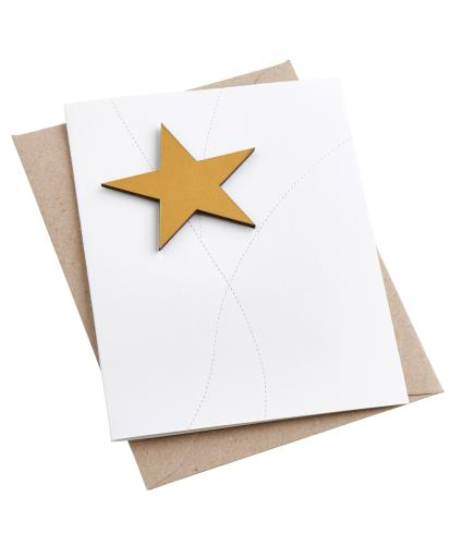Artbox Recycled Leather Star Magnet Card in Gold