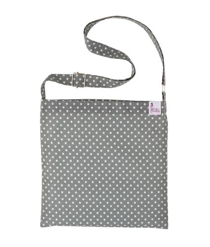 Drain Dollies Cross Body Drain Bag in Grey Spotted