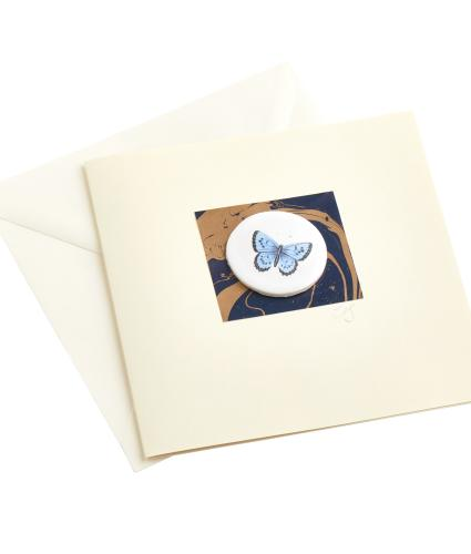 CB Ceramics Blue Butterfly Button Greetings Card