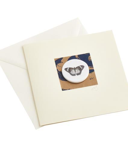CB Ceramics Black Velvet Moth Button Greetings Card