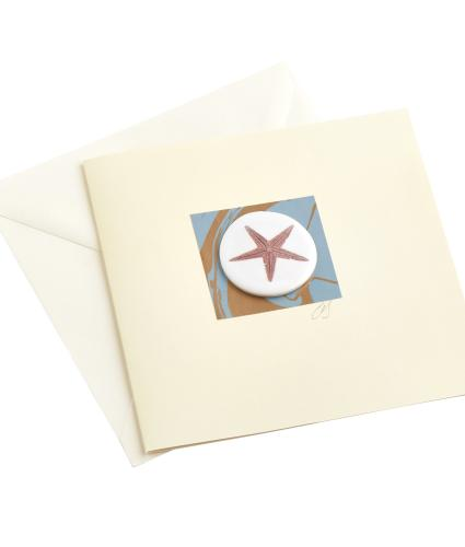 CB Ceramics Orange Starfish Button Greetings Card