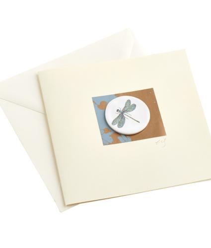 CB Ceramics Emerald Damselfly Button Greeting Card