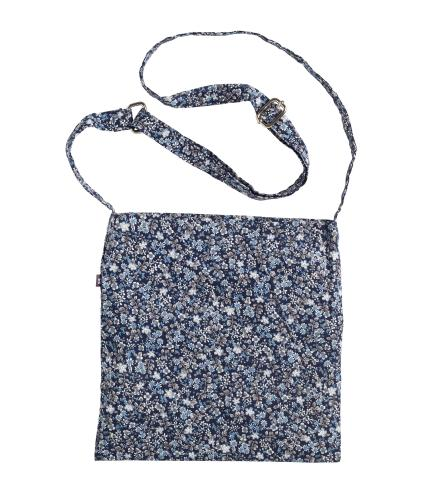 Shoulder Drain Bag in Blue Flower Print