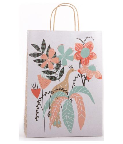 Eco Peacock Floral Gift Bag