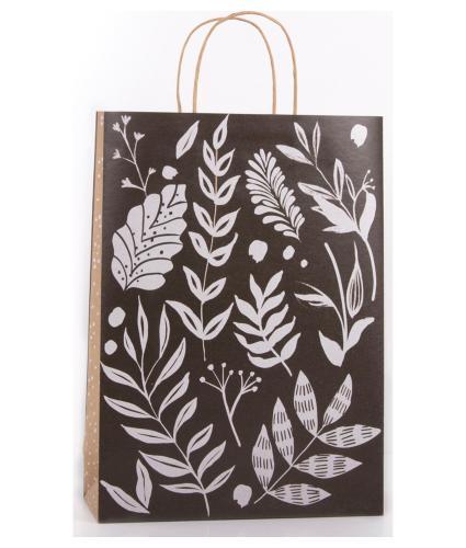 Eco Monochrome Leaf Gift Bag