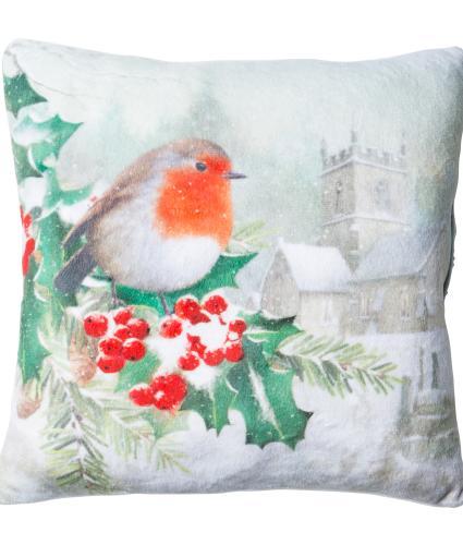 Large Winter Robin LED Cushion