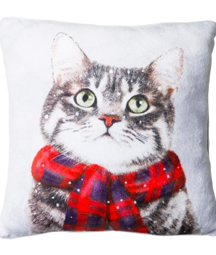 Large Winter Cat Cushion