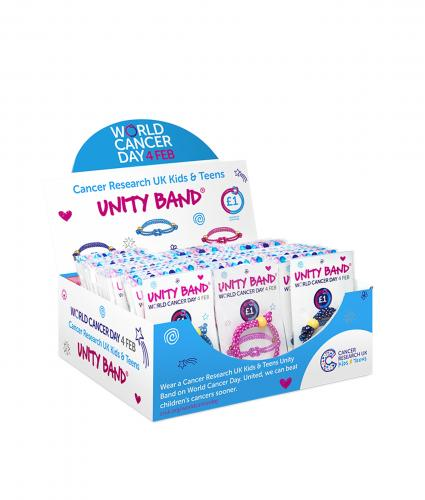 Cancer Research UK Kids & Teens Unity Band Fundraising Box, World Cancer Day, #ActofUnity
