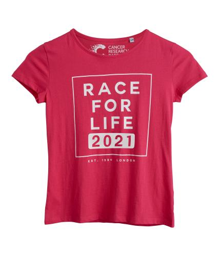 Race for Life 2021 Dated Pink Teens T-shirt