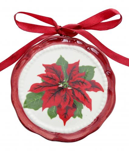 Poinsettia Ceramic Disk Cancer Research uk Christmas Gift