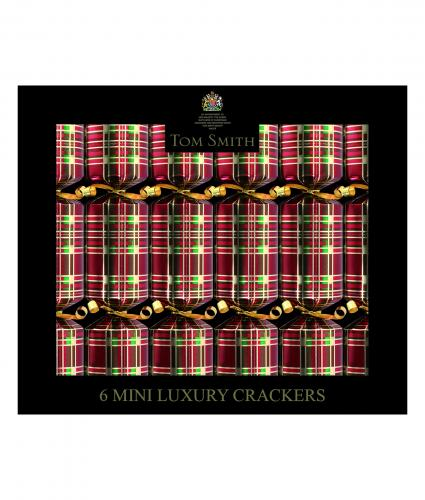 Red tartan mini crackers, cancer research uk