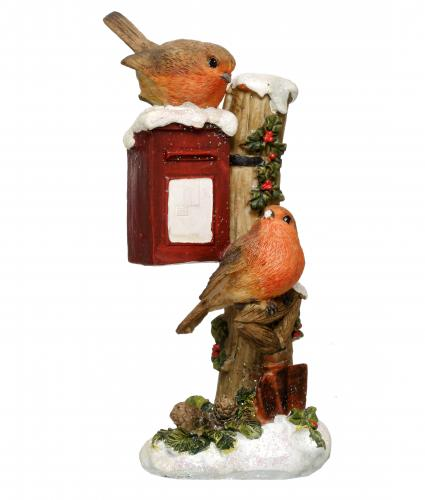 robin on post box resin cancer research uk christmas gift