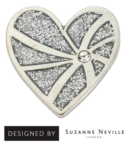 Silver Heart Pin Badge designed by Suzanne Neville, Cancer Research UK