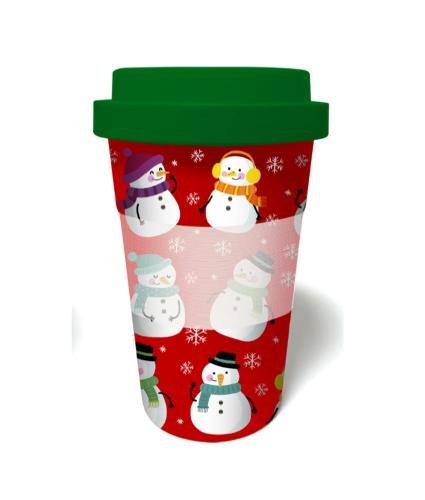 Snowman Bamboo Travel Mug