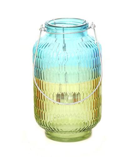 Two Tone Blue Glass Lantern