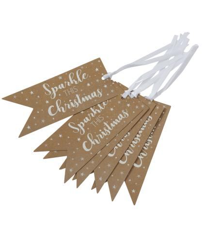Tom Smith 6 White Shining Stars Gift Tags