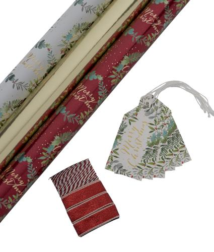 Tom Smith Festive Holly Gift Wrap Pack