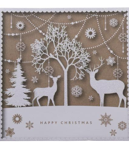 Two Sparkly Reindeer Christmas Cards - Pack of 20