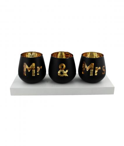 Mr & Mrs Tea Light Set, Wedding Gift, Cancer Research UK