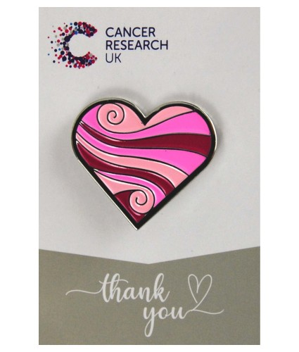 Pink Swirl Heart Pin Badge Wedding Favour