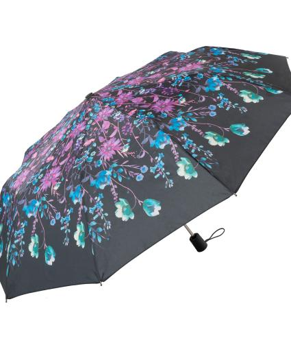 Floral Watercolour Print Umbrella Purple