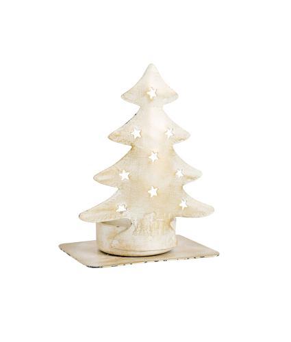 White & Gold Christmas Tree Tealight Holder