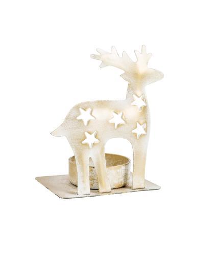White & Gold Reindeer Tealight Holder